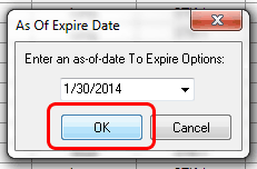 TradeLog screenshot of Expire Options function.