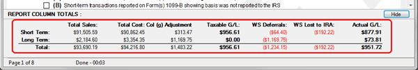 TradeLog screenshot of Form 8949 report summary.