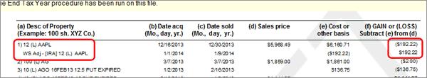 TradeLog screenshot of Gains & Losses Report.