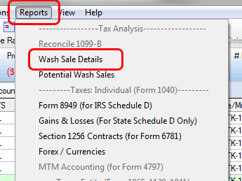 TradeLog screenshot of Reports menu and Wash Sale Details selection.