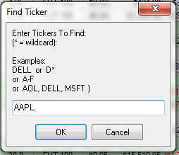 Using the Find>Ticker Function