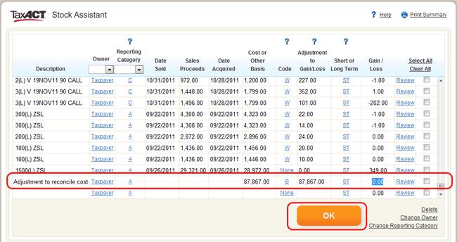 Entering Cost Basis Adjustments in TaxACT® – TradeLog Software