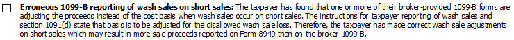 6. Erroneous 1099-B Reporting of Wash Sales on Short Sales Checkbox
