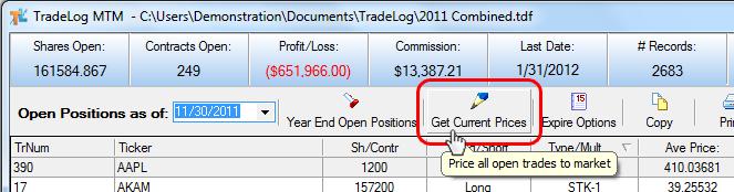 Get Current Prices – TradeLog Software