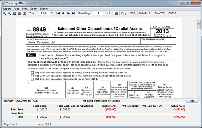 IRS Form 8949 – TradeLog Software
