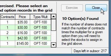 Options trade log