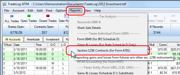 Topic:Reporting Gains/Losses for Section 1256 Contracts