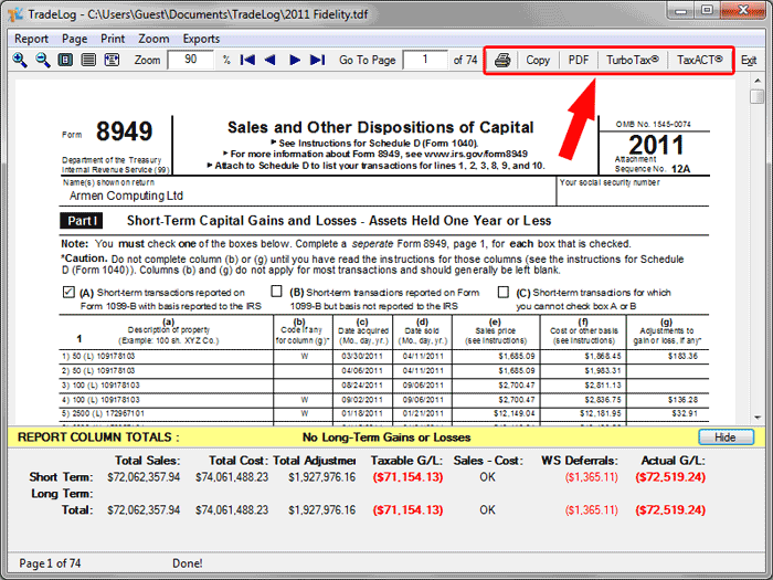 Generating Form 8949 For Tax Preparation Tradelog Software