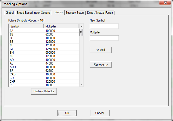 Futures Settings Tradelog Software