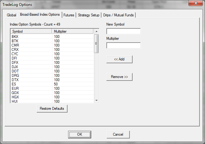 Broad Based Index Options Settings Tradelog Software