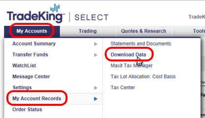 Importing from a QFX File - TradeKing – TradeLog Software
