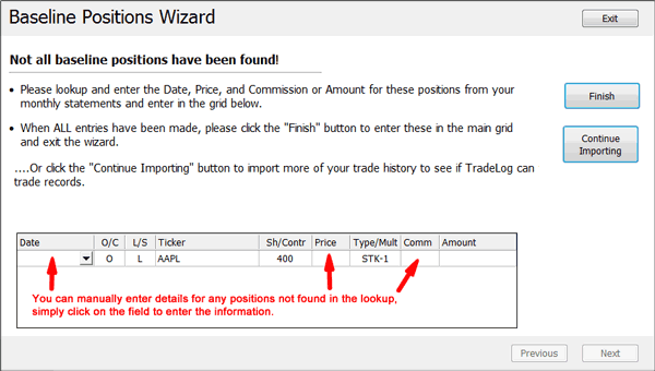 Using the Baseline Positions Wizard – TradeLog Software